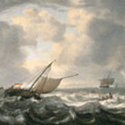 Ships On A Choppy Sea Print by Hendrik van Anthonissen