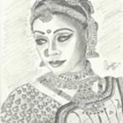 Shobana Chandrakumar-bharatanatyam Dancer Print by Priya Paul