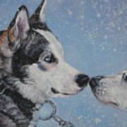 Siberian Huskies In Snow Print by Lee Ann Shepard