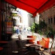 Sidewalk Cafe In Red Print by Wayne Archer