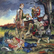 Sir Philip Sidney At The Battle Of Zutphen Print by Ron Embleton