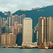 Skyline From Kowloon With Victoria Peak In The Background In Hong Kong Print by Sami Sarkis