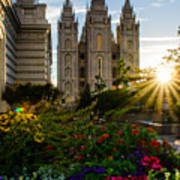 Slc Temple Sunburst Print by La Rae  Roberts