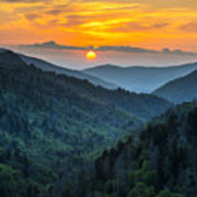 Smoky Mountains Sunset - Great Smoky Mountains Gatlinburg Tn Print by Dave Allen