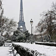 Snow Carpets Benches And Eiffel Tower Print by Jade and Bertrand Maitre