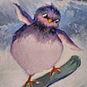 Snowboard Bird Print by Diane Ursin