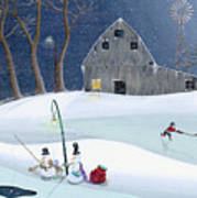 Snowmen On Hockey Pond Print by Thomas Griffin