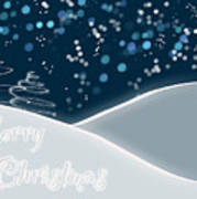 Snowy Night Christmas Card Print by Lisa Knechtel