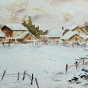 Snowy Village Print by Xueling Zou