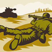 Soldier Aiming Bazooka Print by Aloysius Patrimonio