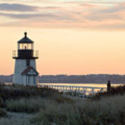Solitude At Brant Point Light Nantucket Print by Henry Krauzyk