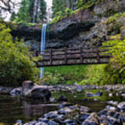 South Silver Falls With Bridge Print by Darcy Michaelchuk