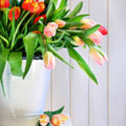 Spring Tulips On An Old Bench Print by Sandra Cunningham