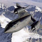 Sr-71b Blackbird In Flight Print by Stocktrek Images