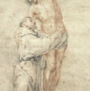St Francis Rejecting The World And Embracing Christ Print by Bartolome Esteban Murillo