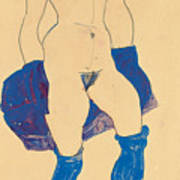 Standing Woman With Shoes And Stockings Print by Egon Schiele