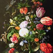 Still Life Of Flowers Print by Jan Davidsz de Heem