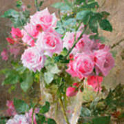 Still Life Of Roses In A Glass Vase  Print by Frans Mortelmans