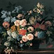 Still Life With Basket Of Flowers Print by Jean-Baptiste Monnoyer