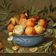 Still Life With Oranges And Lemons In A Wan-li Porcelain Dish  Print by Jacob van Hulsdonck