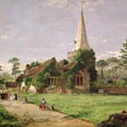 Stoke Poges Church Print by Jasper Francis Cropsey