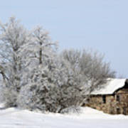 Stone House In Winter Print by Gary Gunderson