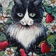 Strawberry Lover Cat Print by Natalie Holland