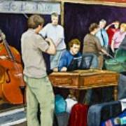 Street Musicians In Dublin Print by Brenda Williams