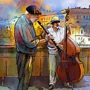 Street Musicians In Prague In The Czech Republic 01 Print by Miki De Goodaboom