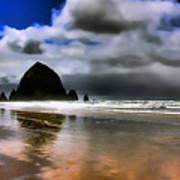 Sun Shining On Haystack Rock Print by David Patterson