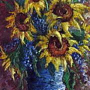 Sunflower Bouquet Print by David G Paul