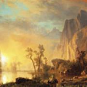 Sunset In The Rockies Print by Albert Bierstadt