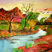 Sunset In Zion Print by Joanna Aud