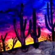Sunset On Cactus Print by Michael Grubb