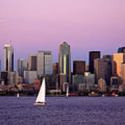 Sunset Sail In Puget Sound Print by Adam Romanowicz