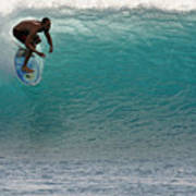 Surfer Dropping In The Blue Waves At Dumps Maui Hawaii Print by Pierre Leclerc Photography
