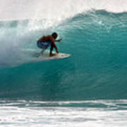 Surfer Surfing In The Tube Of Blue Waves At Dumps Maui Hawaii Print by Pierre Leclerc Photography