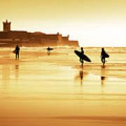 Surfers Silhouettes Print by Carlos Caetano