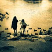 Talking To Ducks Print by Bob Orsillo