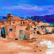 Taos Pueblo Village Print by Elise Palmigiani