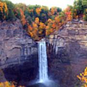 Taughannock Waterfalls In Autumn Print by Paul Ge