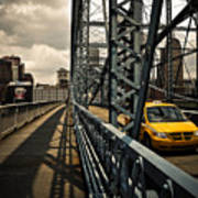 Taxi Crossing Smithfield Street Bridge Pittsburgh Pennsylvania Print by Amy Cicconi