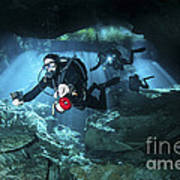 Technical Divers Enter The Cavern Print by Karen Doody