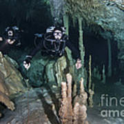 Technical Divers In Dreamgate Cave Print by Karen Doody
