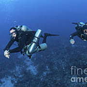 Technical Divers With Equipment Print by Karen Doody