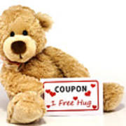 Teddy Bear With Hug Coupon Print by Blink Images