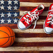 Tennis Shoes And Basketball On Flag Print by Garry Gay
