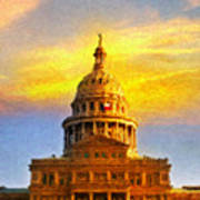 Texas Capitol At Sunset Austin Print by Jeff Steed