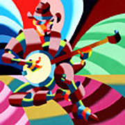 The Abstract Futurist Cowboy Banjo Player Print by Mark Webster