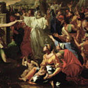 The Adoration Of The Golden Calf Print by Nicolas Poussin